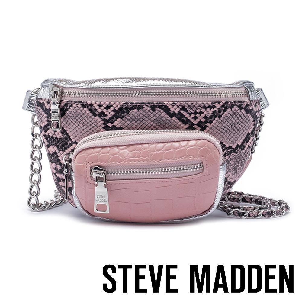 STEVE MADDEN-BSUMMITM 時下潮流 金屬鍊條蛇皮壓紋腰包-粉色