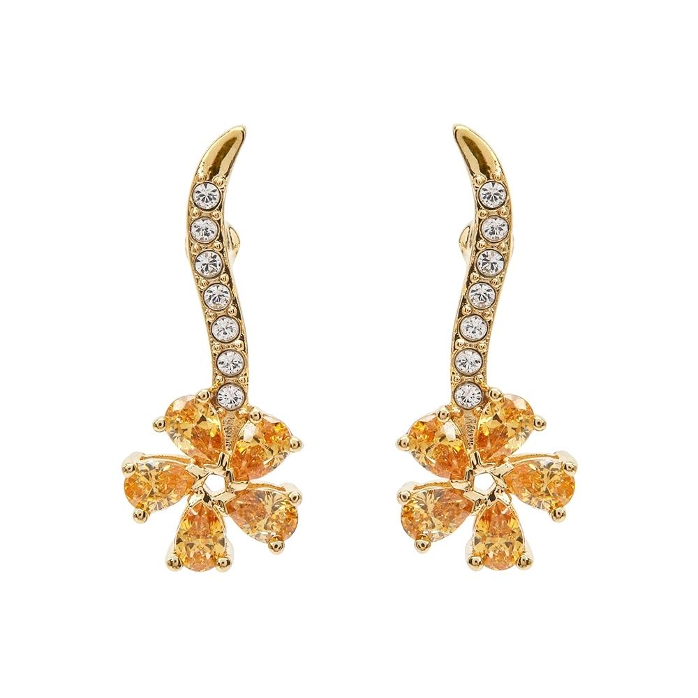 SWAROVSKI 施華洛世奇 Botanical璀璨水晶垂墜花朵金色耳環