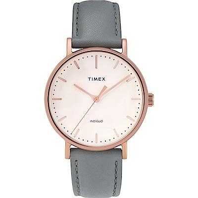 TIMEX 天美時 復刻系列 簡約復古手錶-玫瑰金x灰色錶帶/37mm