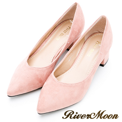 River&Moon大尺碼-素面麂皮絨質感OL上班鞋中跟鞋-粉