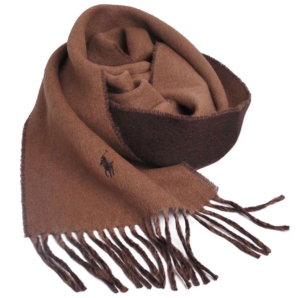 RALPH LAUREN POLO小馬刺繡LOGO雙面配色義大利製羊毛圍巾(駝色/咖啡)GUCCI