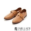 Fair Lady 懶骨頭釦帶後踩兩穿紳士平底鞋 棕