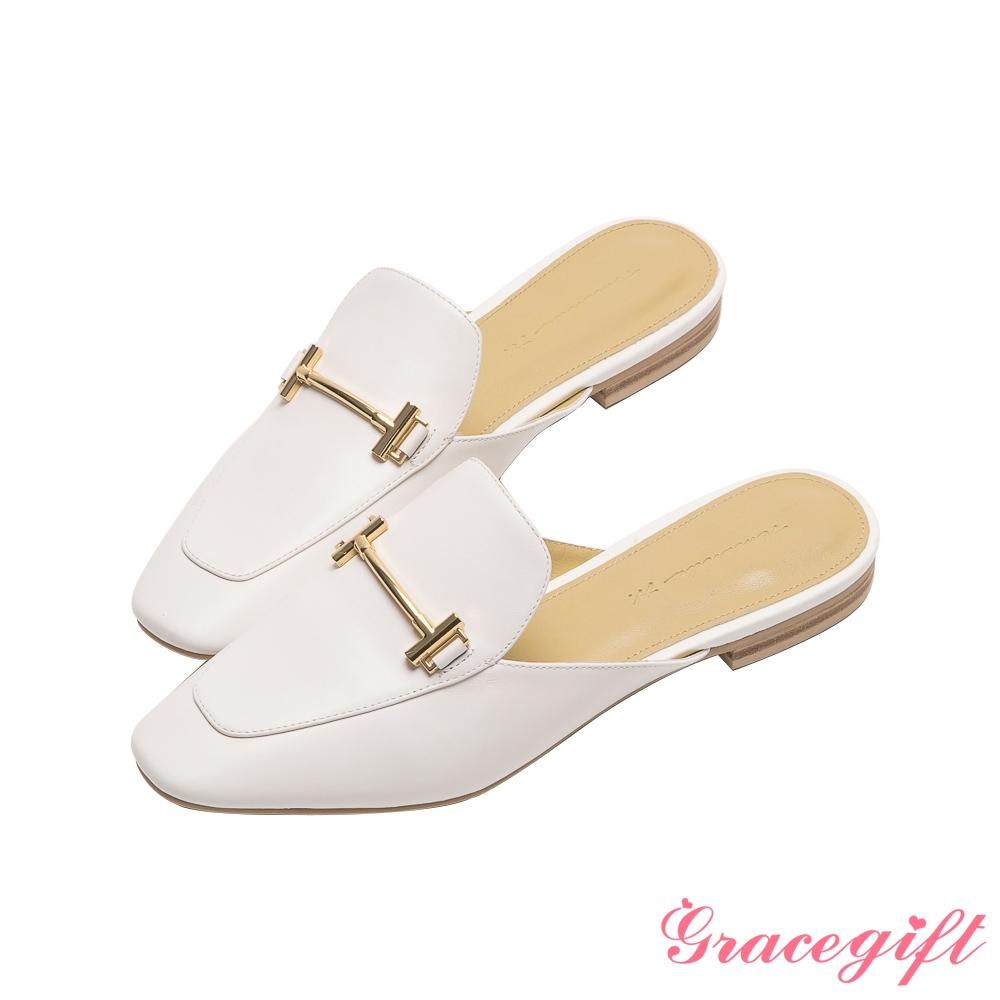 Grace gift X Amanda聯名-全真皮馬銜釦低跟穆勒鞋 白