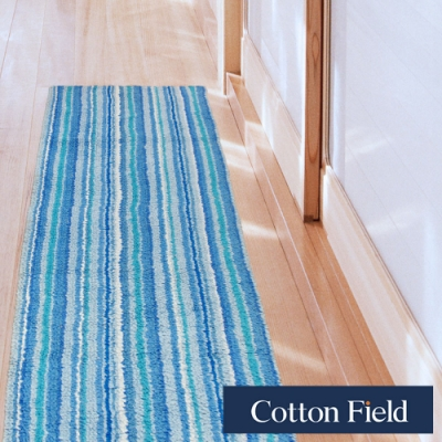 棉花田 香川 純棉雙面條紋走道毯-淡藍色(45x135cm)