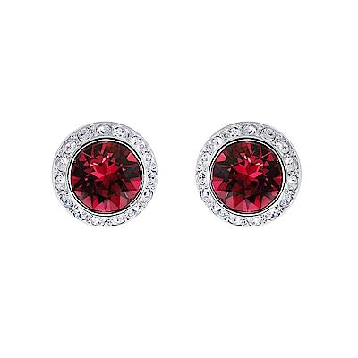 SWAROVSKI 施華洛世奇 璀璨紅水晶圓型銀色耳環