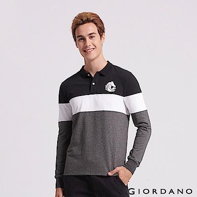 GIORDANO 男裝立體刺繡撞色長袖POLO衫-12 標誌黑