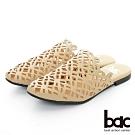 【bac】復古風潮 - 鏤空小方頭平底穆勒鞋-米