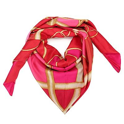 HERMES Coup de Fouet 真絲披肩方型大絲巾圍巾-粉紅