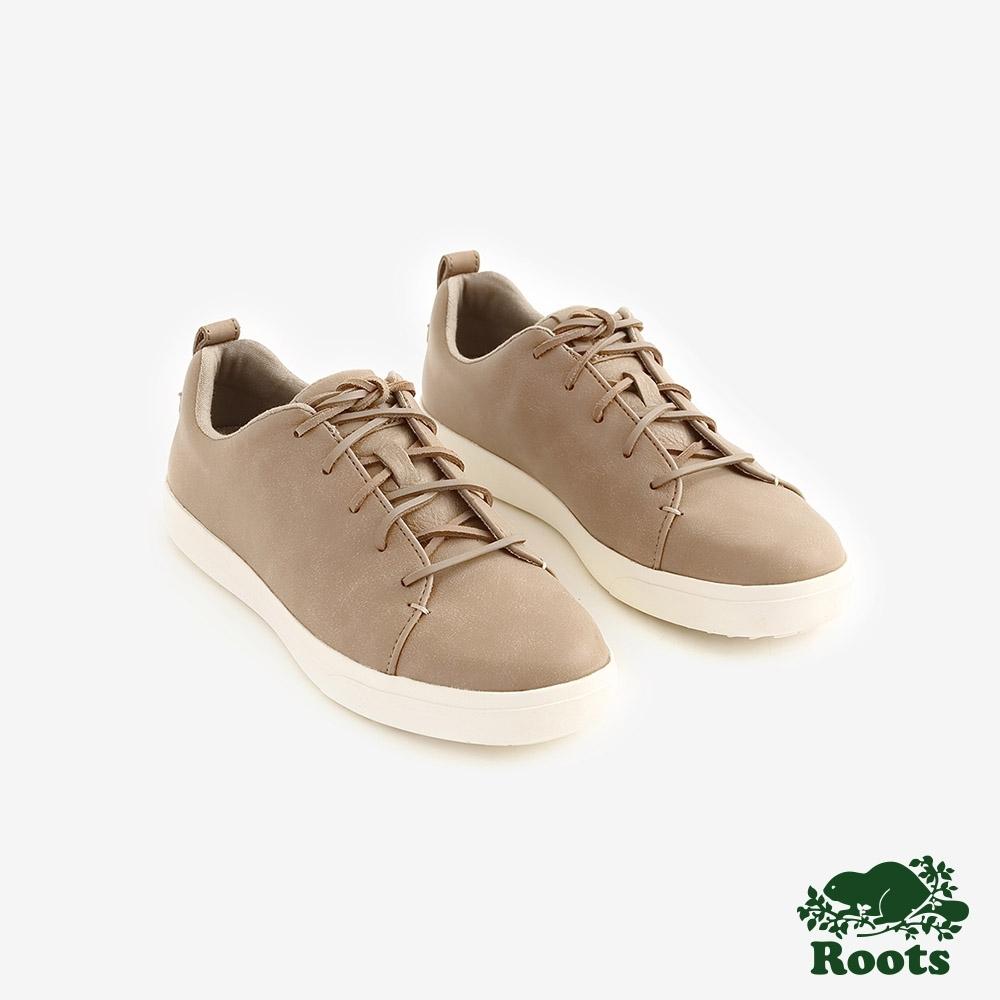 ROOTS女鞋- 派克皮革網球鞋 -棕