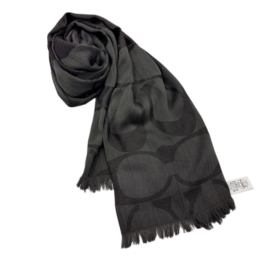COACH 經典滿版LOGO羊毛混絲針織流蘇披肩圍巾-黑色COACH