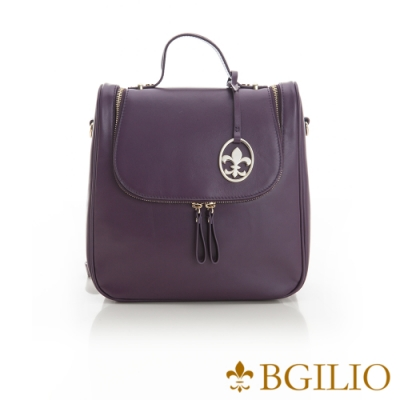 義大利BGilio-NAPPA軟牛皮知性學院風後背包-氣質紫 1942.005A-10