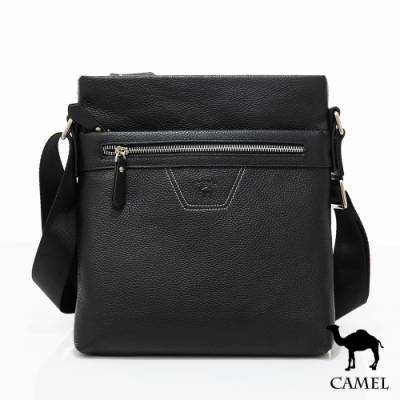 CAMEL - 極緻牛皮荔枝紋雙層收納側背包