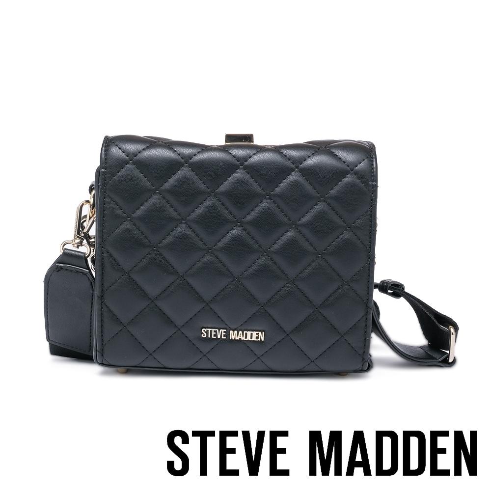 STEVE MADDEN-BCELINE 方形金飾菱格紋手提斜背兩用包-黑色