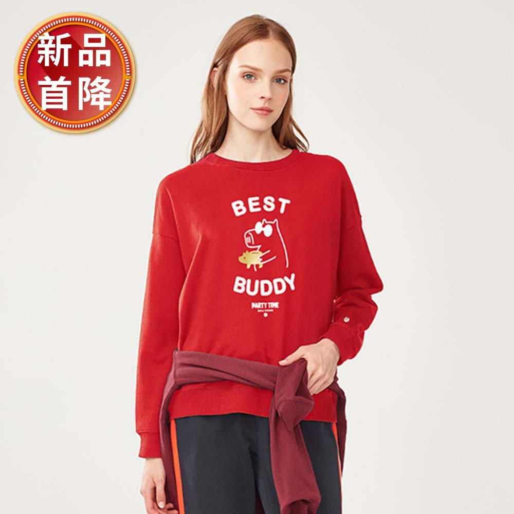GIORDANO 女裝派對豬系列印花刷毛大學TEE-21 新冠軍紅 @ Y!購物
