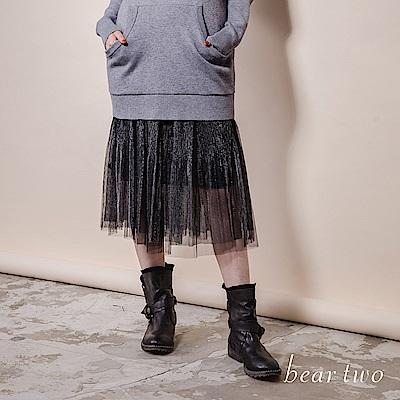 beartwo 網路限定-金屬感黑色網紗百褶裙(黑色)