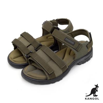 【KANGOL】英式寬版記憶鞋墊休閒涼鞋-男-綠