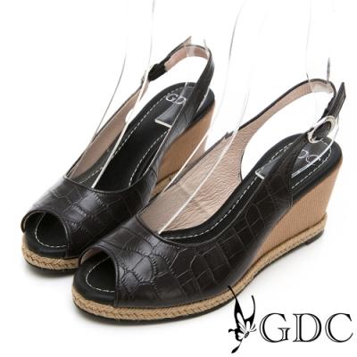 GDC-真皮動物紋時尚楔型後空魚口涼鞋-黑色
