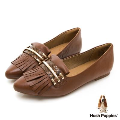 Hush Puppies 牛皮流蘇娃娃鞋-棕色