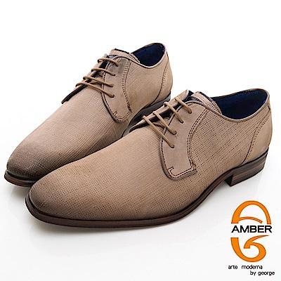 【AMBER】 商務時尚 葡萄牙進口綁帶經典手工紳士皮鞋-棕色