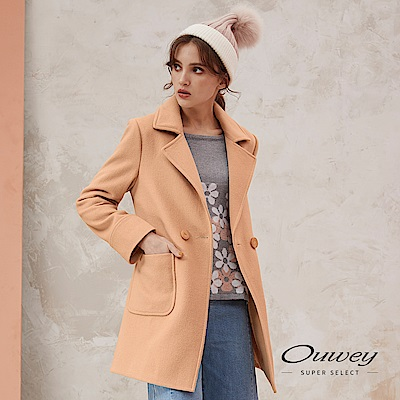 OUWEY歐薇-素色羊毛開襟式風衣外套-可