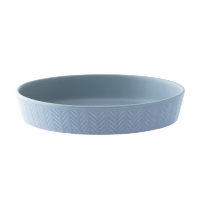 日本 MEISTER HAND 人字橢圓形烤盤L- 藍灰色