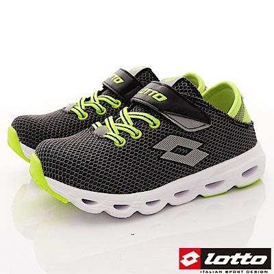 Lotto義大利運動鞋 風動機能跑鞋款 RSI720黑灰(中大童段)