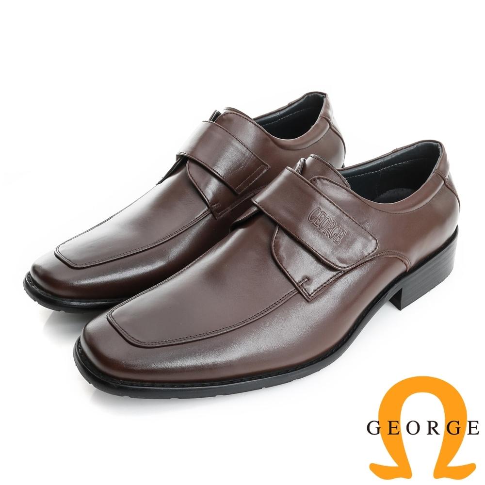 GEORGE 喬治-經典系列 牛皮小方楦魔鬼氈紳士鞋皮鞋(男)-棕色