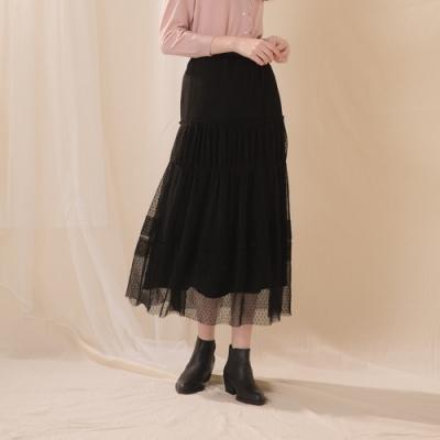 【CUMAR】壓褶網紗-長裙(二色/版型適中)