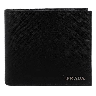 PRADA 金屬字樣防刮皮革短夾(八卡)