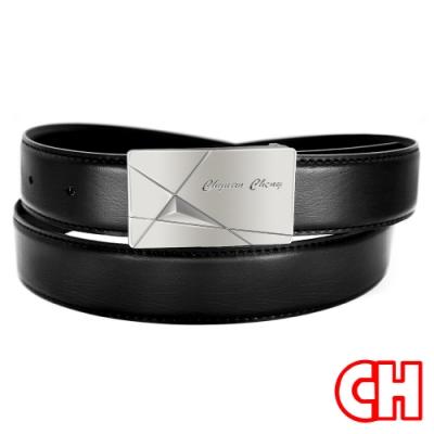 CH-BELT超熱賣休閒正式中性紳士扣皮帶腰帶(黑)