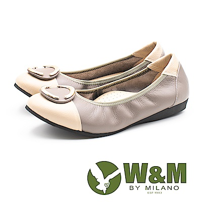 W&M (女)撞色真皮娃娃鞋-米棕(另有黑綠)