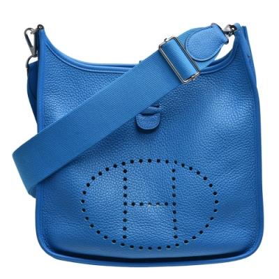 HERMES Evelyne III 29系列荔枝紋小牛皮鏤空洞H LOGO肩背包(海藍色)