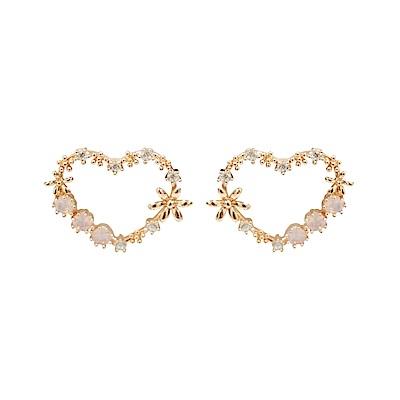 Prisme 美國時尚飾品 心花朵朵閃耀水鑽 玫瑰金色針式耳環