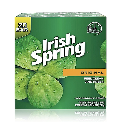 美國 Irish Spring 除汗臭專用香皂-104.8g(20入組)