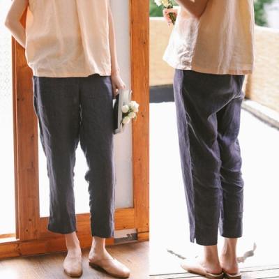 休閒褲-砂洗色織亞麻開叉寬鬆直筒九分-設計所在