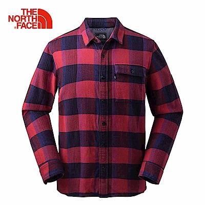 The North Face北面男款紅色格紋休閒長袖襯衫|3LAB6YH
