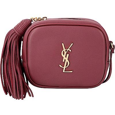 YSL Saint Laurent Blogger 金字流蘇飾牛皮相機包(暗紅)