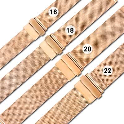 Watchband / DW代用 各品牌通用透亮輕巧米蘭編織不鏽鋼錶帶 玫瑰金