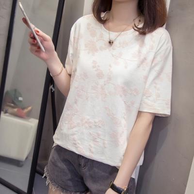 SQUA 刺繡花紋短袖上衣-二色-(L/XL)