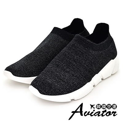 Aviator*韓國空運-針織彈力超輕量襪套休閒懶人鞋-黑