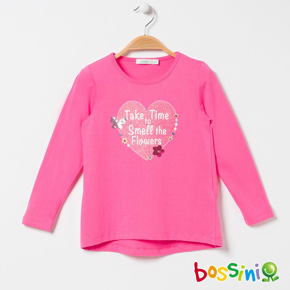 bossini女童-純棉圓領長袖T恤02珊瑚色