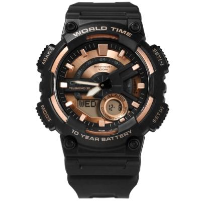 CASIO 卡西歐世界時間數位雙顯膠錶-黑玫瑰金色/46mm