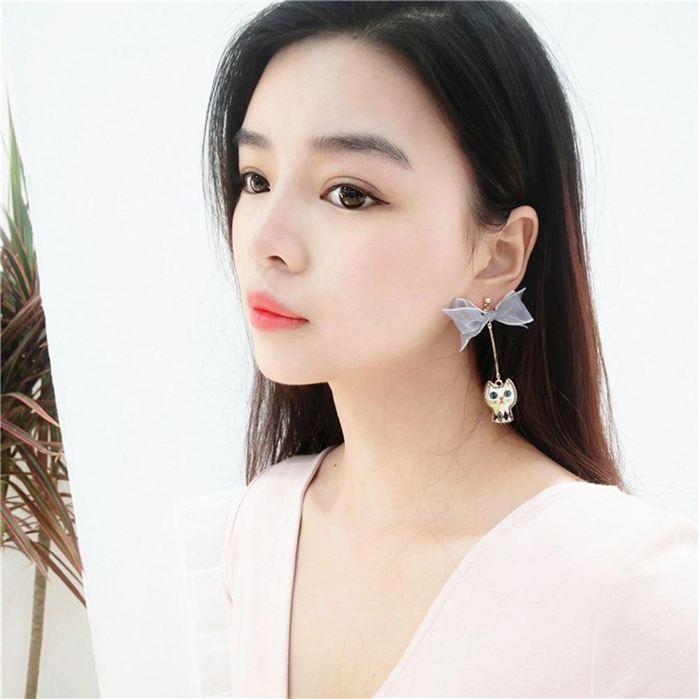 梨花HaNA 韓國手作軟萌少女貓和時間的對話耳環