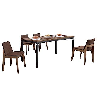 文創集 茉莉時尚6尺亞麻布實木餐桌椅組合(一桌四椅)-180x90x75免組
