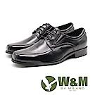 W&M 大尺碼極簡綁帶 商務正裝皮鞋 男鞋-黑