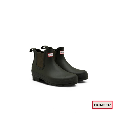 HUNTER - 男鞋-切爾西霧面踝靴 - 橄欖色