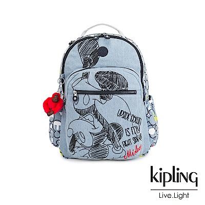 Kipling 米奇系列 丹寧俏皮倒立米奇印花機能手提後背包-D SEOUL GO