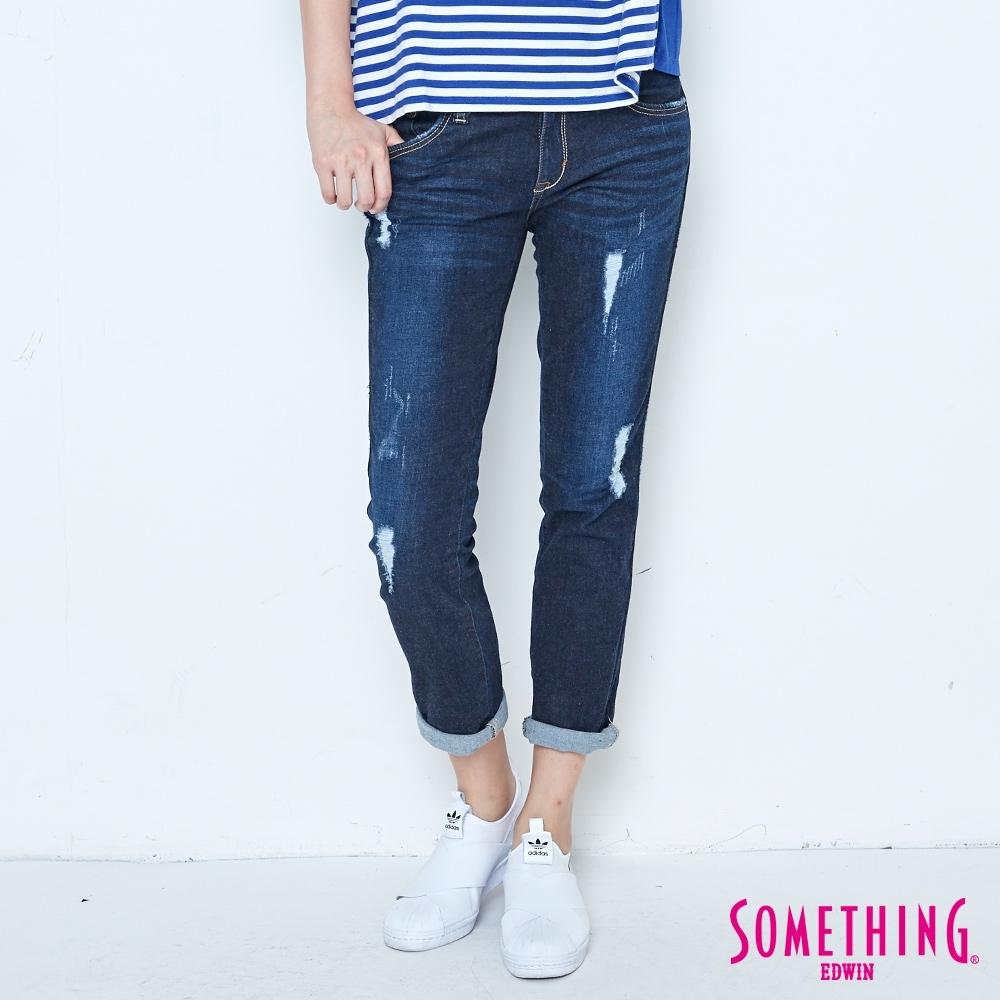 SOMETHING CELEB 磨破加工 中直筒牛仔褲-女-原藍磨