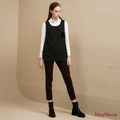 KeyWear奇威名品    精緻貓咪圖騰刺繡長褲-暗紅色