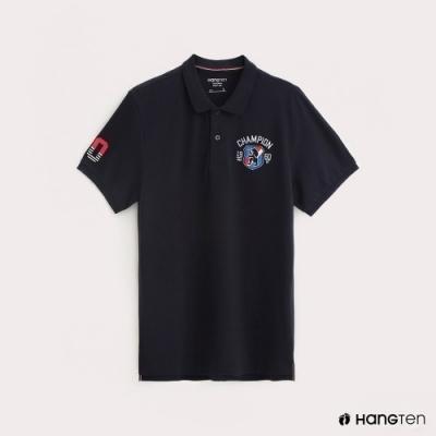 Hang Ten-男裝彈性圖標刺繡POLO衫-深藍